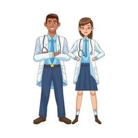 professional diverse doctor characters vector