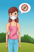 woman using face mask in the park with stop covid19 sign vector