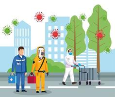 biohazard cleaning persons with covid19 particles on the city vector
