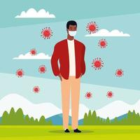 black man using face mask for covid19 in the park vector