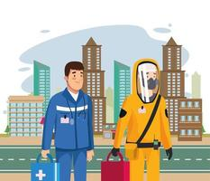 biohazard cleaning person with paramedic in the city vector