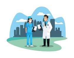 nurse and doctor staff medical characters vector