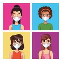 women using face masks characters vector