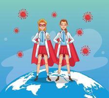 super female doctors with hero cloaks vs covid19 vector