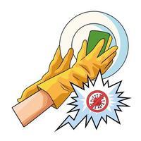 método de prevención de lavado de utensilios covid19 vector