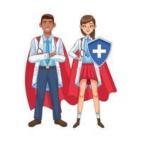 diverse super doctors with hero cloaks vs covid19 vector