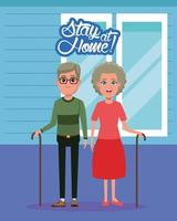 stay at home campaign with grandparents couple vector