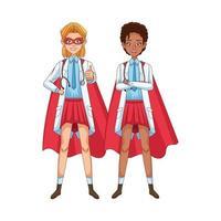 diverse super female doctors with hero cloaks vs covid19 vector