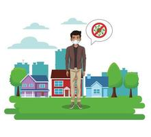 man using face mask with stop covid19 sign in the park vector
