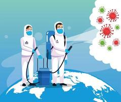 biohazard cleaning persons with covid19 particles in the earth planet vector
