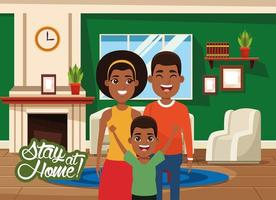 stay at home campaign with black parents and son vector