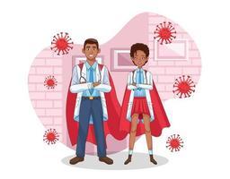 black super doctors with hero cloaks vs covid19 vector
