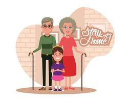 stay at home campaign with grandparents and granddaughter vector