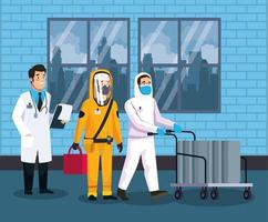 biohazard cleaning person and doctor characters vector