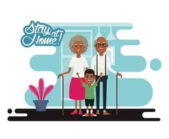 stay at home campaign with black grandparents and grandson vector