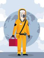 biohazard cleaning person with special suit and planet vector
