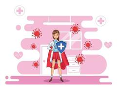 female super doctor with shield and cloak vs covid19 vector