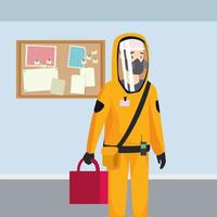 biohazard cleaning person with special suit character vector