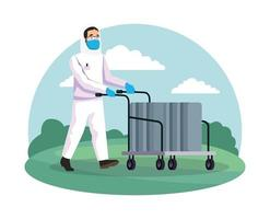 biohazard cleaning person with cart in the park vector