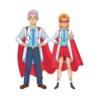 super doctors with hero cloaks vs covid19 vector