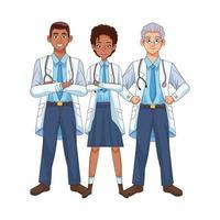 profesionales médicos diversos personajes vector