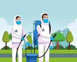 biohazard cleaning persons with special suits characters vector