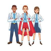 diversos súper doctores con capas de héroe vs covid19 vector