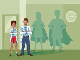 black doctor characters with superhero shadows vector