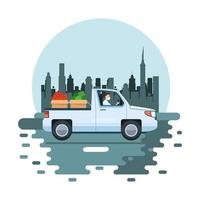 man wearing face mask and delivering vegetables in car vector