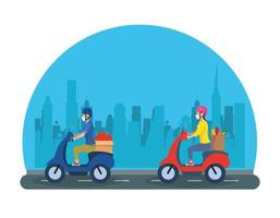 couple on motorcycles using face masks to transport groceries vector