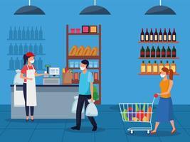 Pareja y trabajador con mascarillas en el supermercado vector