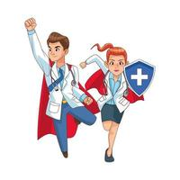 super doctors with shield vector