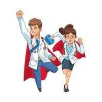 super doctors comic characters vector