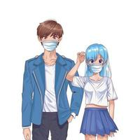 young couple using face masks anime characters vector