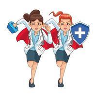 female super doctors comic characters vector