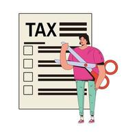 young woman female with scissors and tax document vector