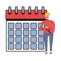 young man writing with pencil and calendar vector