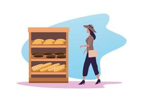 mujer joven comprando pan vector