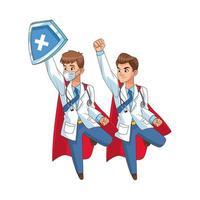 flying super doctors comic characters vector