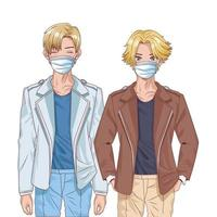 young boys using face masks anime characters vector