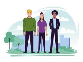 group of young people in landscape scene vector