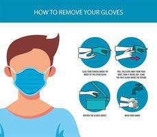 cómo quitarse los guantes infografía covid19 vector