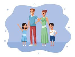 parents and children staying at home vector