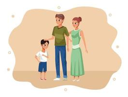 parents and son staying at home vector