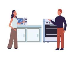 young couple in fashionable clothing with kitchen appliances vector
