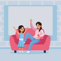 mother and daughter staying at home to avoid covid 19 vector