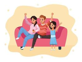 parents and daughter staying at home vector