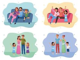 group of family members staying at home vector