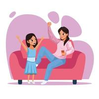 mother and daughter staying at home vector