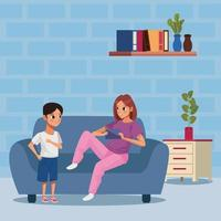 mother and son staying at home to avoid covid 19 vector